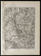 1880 - Mapa antigua Nancy y de la línea de Moselle