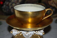 WONDERFUL OLD GOLD PAINTED ART DECO STYLE HP TRIM COFFEE / TEA CUP AND SAUCER #2