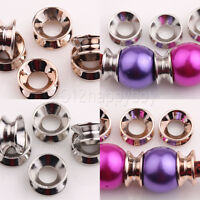 25/50PCS Rose Gold/Silver Big Hole Spacer Loose Beads 12x6mm Jewelry Making