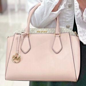 Michael Kors Daria Large Satchel Leather Bag Vanilla Blossom Pink Powder Blush