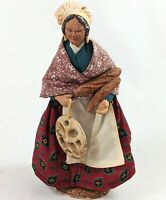 """Andre Guigon Ceramic and Fabric Figure Doll Elderly Woman Lady w/ Bread 10"""" Tall"""