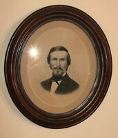 Antique Victorian Portrait Southern Gentleman Hand Carved Walnut Frame Painting