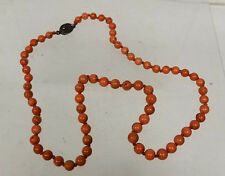 Antique Chinese Red Salmon Colored Coral Necklace Silver Clasp Carved