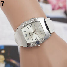 Ladies Fashion Silver Case Silver Dial & Rhinestone Quartz White Band WristWatch