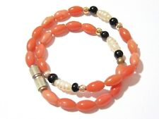 Faux Coral And Pearl Black And Gold Tone Beaded Ankle Chain Bracelet Vintage
