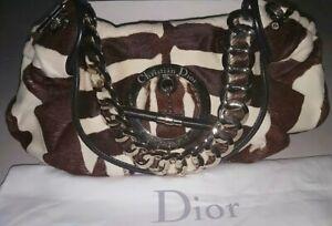 Authentic Christian Dior Brown/White Fur Zebra Print Calf Hair Hobo Shoulder Bag