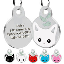 Personalized Cat Name Identity Dog Tags Kitten Disc Disk Cat Tag Engraved
