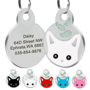 Personalised Cat Name Identity Dog Tags Kitten Disc Disk Cat Tag Free Engraved