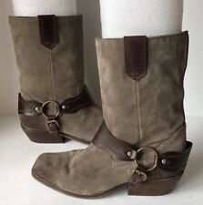 ZODIAC Pandell Women's Gray Leather Harness Cowboy Boots Size 7 M