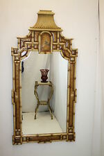Dramatic Chinese Faux Bamboo Pagoda Mirrors with Chinoiserie Details.