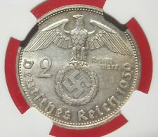 NGC MS-63 NAZI SWASTIKA 1939-D 2 ReichsMark SILVER COIN-Germany 3rd-REICH MINT!!