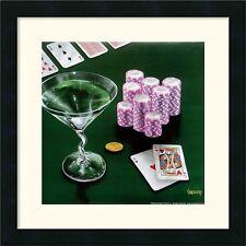 "Michael Godard, ""Poker Chips, Big Slick"" Framed Art, W/Mat, 18x18"