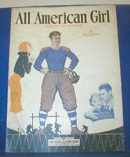 ALL AMERICAN GIRL/1932 Collegiate Sheet Music/FOOTBALL