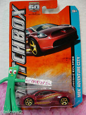 2013 Matchbox #103 MITSUBISHI ECLIPSE~D Red w/yellow/or; gold 5sp~Adventure City