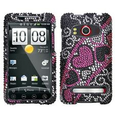 Streaming Heart Crystal Bling Case Cover for HTC EVO 4G
