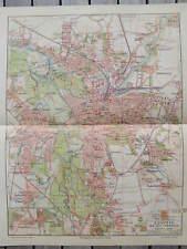 Antique landkarte map Leipzig Germany Duitsland 1906