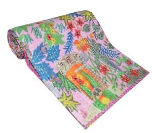 Women's Frida Khalo Print Kantha Quilts Twin Bohemian Bedding Blanket Bedcover