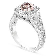 1.46 Carat Morganite Engagement Ring Vintage Style Hand Engraved 14k White Gold