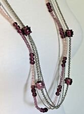 Antica Murrina Glass Bead Necklace Multi Strand Chain Purple Pink 33 Inch New