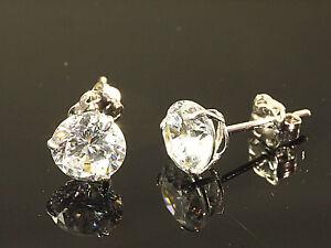 585 Weißgold Ohrstecker 1 Paar 5 mm Grösse 3 Krappen mit Zirkonia Steinen