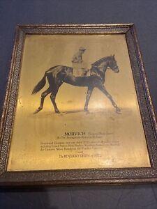 "SCARCE 1922 KENTUCKY DERBY ""MORBICH"" GOLD METAL RADIO TONES PHOTO w/JOHNSON(HOF)"