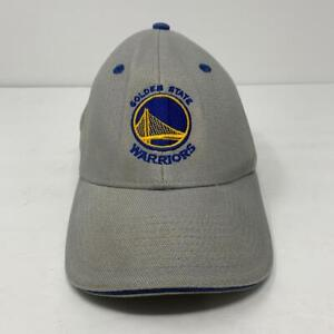 Golden State Warriors Gray Blue Gold Adjustable Hook and Loop Cap NBA Hat EUC