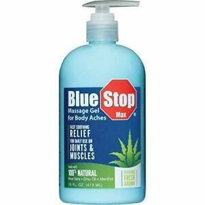 16 oz - 3 in 1 Blue Stop Max® Massage Gel for Body Aches Relieves Body Aches