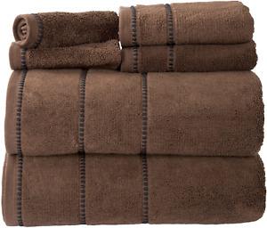 Luxury Cotton Towel Set- Quick Dry, Zero Twist and Soft 6 Piece Set With 2 Bath
