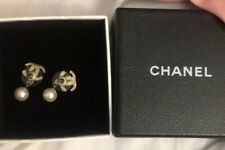 100% Authentic Chanel CC Gold Tone Earrings Pearl