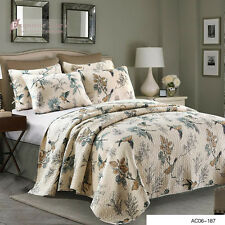 100% Cotton Home Quilted Coverlet Rug/Bedspreads Queen Modern Birds 3Pc Set Bed