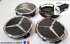 4 logo mercedes,caches moyeu jante ,centres de roue 75 mm noir neuf