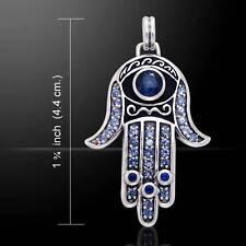 Hamsa .925 Sterling Silver Pendant Created Sapphire Gemstone by Peter Stone