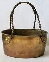 Vintage Brass Ornate Planter Basket With Braided Handle