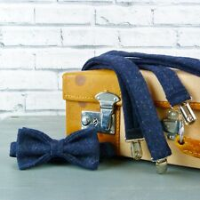 Handmade Yorkshire Tweed Bow Tie and Braces - Navy Twill