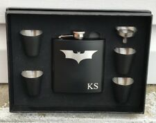 Batman Dark Knight Inspired 6 Piece Flask Set Groomsman Best Man Wedding Gift