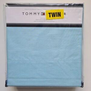 Tommy Hilfiger 100% Cotton Percale Twin Sheet Set, Light Blue