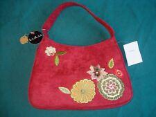 Brand New LuLu Redish Orange Fall / Autumn Appliqued Floral Handbag/Purse NWT