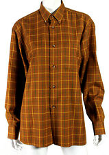 HERMES Vintage Tobacco Brown Windowpane Check Wool Flannel Blouse 40