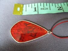 red drop pendant necklace red colour cord in a box [ 1598 ]