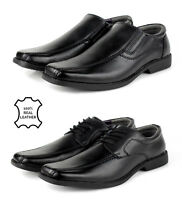 Mens Smart Leather Shoes Slip on Black Formal Lace Up Dress Office Work School