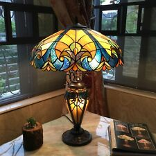 Table Lamp Tiffany Victorian Style Beige Blue Stained Glass Shade Bronze Finish