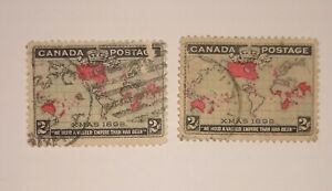 "VINTAGE 1898 Canada 2 Cent ""Xmas"" Stamp(s) 2  Scott #'s 85 & 86."