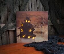 Lighted HAUNTED HOUSE Canvas Picture, Halloween, Spooky Fog, New
