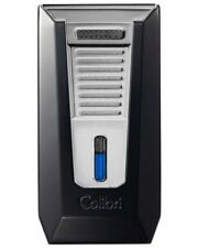 Colibri LI850T5 Slide Double Flame Cigar Lighter Black Brushed Chrome Warranty