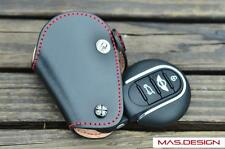 Leather key case For 2014 on made MINI Cooper S in Black with Red Line F54-F57