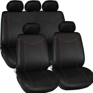 9PCS Universal Car Seat Covers Full Set Red For Girls Seat Protector Front&Rear