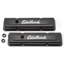 Edelbrock 4443 Signature Series 59-86 Chevy 262-400 SBC Black Steel Valve Covers