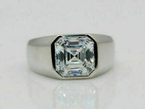 14K White Gold Men's Engagement & Wedding Solitaire Ring 2.1 Ct Asscher Diamond