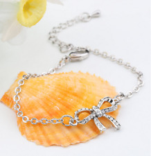 Silver Plated Bracelet Hand Chain Bow knot white Crystal  for Girls Women Gift