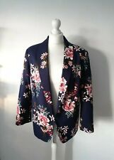 Monsoon Woman Navy Blue Floral Blazer Jacket Size 18 Uk XL New